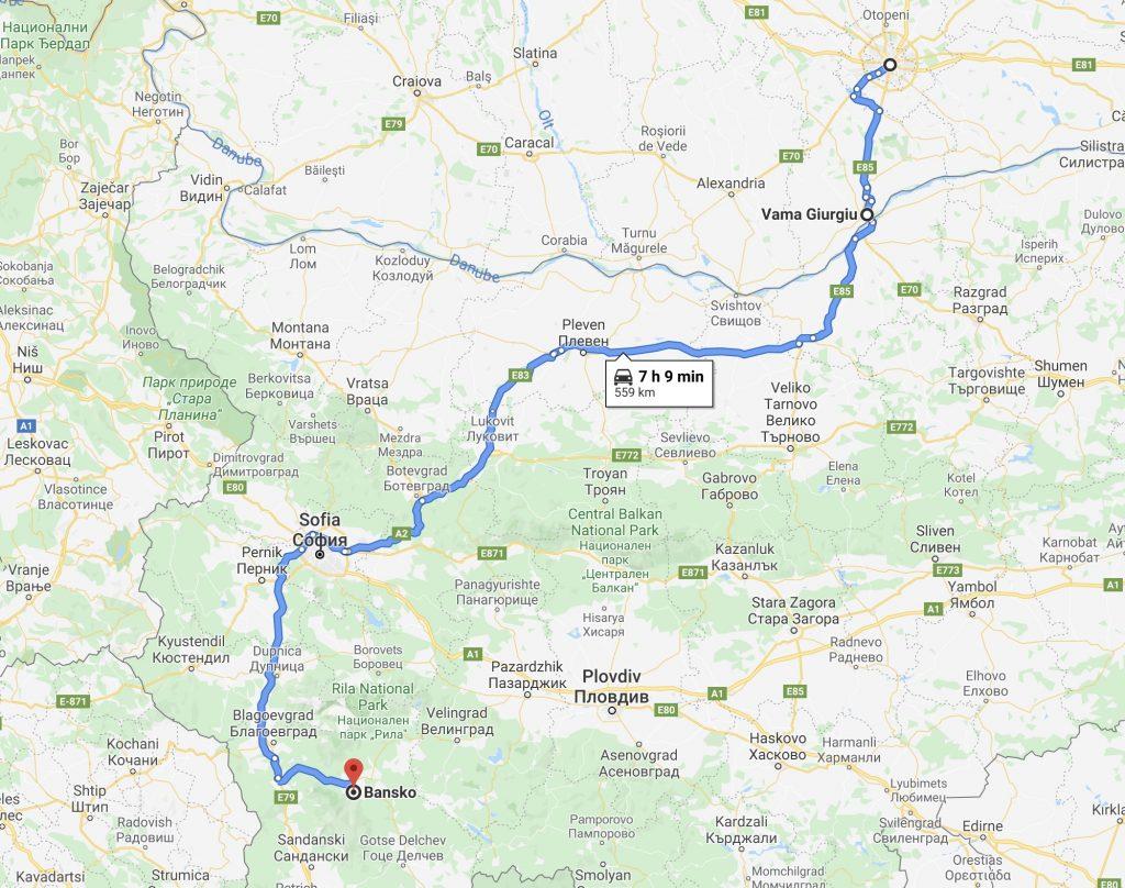 Distanta si drum Bucuresti Bansko